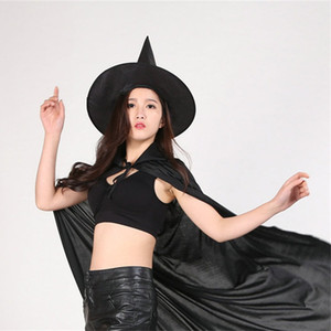 Wholesale Cool Halloween hat Adult Women Black Witch Hat For Halloween Costume Accessory Hot Sale Costume Party Props Wizards Hat T1I884