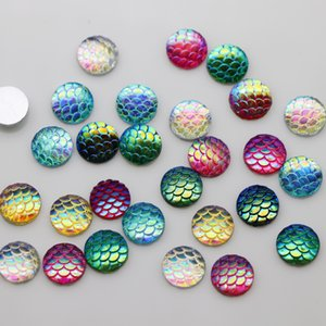 Wholesale 50 Pieces 11 mm Fish Scale Resin Cabochon Flat back Craft Scarpbooking Multi-color - Round Sliver on Sale