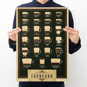 Wholesale New Art Design Vintage Black Coffee Paper Poster Printing Retro Decoration Poster Decor In Room Art Crafts zx dd