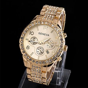 Wholesale Fashion Hip Hop Geneva Steel Band Watch Diamond Three Round Calendar Alloy Steel Band Quartz Watch