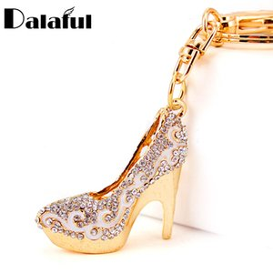 New Fashion Crystal High Heels Shoes Key Chains Rings Holder Flower Enamel Bag Pendant For Car Keyrings KeyChains K289