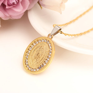 Religious Jewelry Statement Necklace Punk Women Men Accessories 14k Fine Solid Yellow Gold GF Chains Virgin Mary crystal cz Pendant Vintage