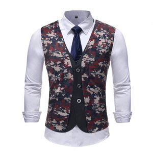 Wholesale 2018 new foreign trade men's fake two casual men's camouflage casual suit vest dress wedding vest tide