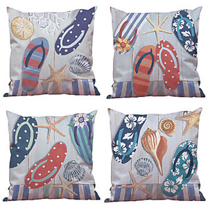 Wholesale euro pillows for sale - Group buy 4 Natural Organic Cotton Linen Pillow Case Pillow Cover Solid Floral Plaid Textured Casual Beach Style Euro Bolster Traditional Classic