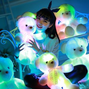 Wholesale Urijk Big Colorful Glowing Teddy Bear Luminous Plush Toy Light Up Led Teddy Bear Stuffed Toys Doll Kid Christmas Gift Pillow Toy