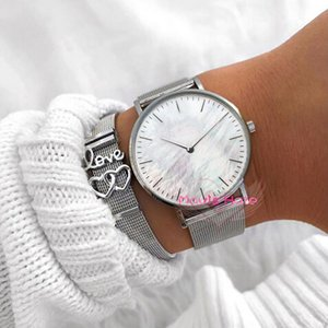 Mavis Hare Silver White Nature Seashell pearl dial wristwatch with Love Heart Soulmate Mesh Story Bracelet Set