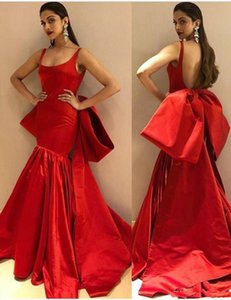 2018 vestidos de festa Sexy Reb Formal Evening Wear Backless Square Neck Mermaid Prom Gowns With Bow Custom on Sale