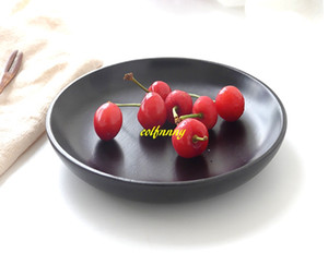 Wholesale 20pcs Black Wooden Serving Trays Round Fruit Plate Dish Tableware Rubber Wooden Tray For Party Hotel Home Dinner
