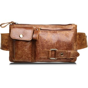 Wholesale vintage fanny pack for sale - Group buy Retro Genuine Leather Men Waist Bag Outdoor Fashion Trend Travel Shoulder Crossbody Chest Male Bags Vintage Oil Wax Matte Leather Fanny Pack
