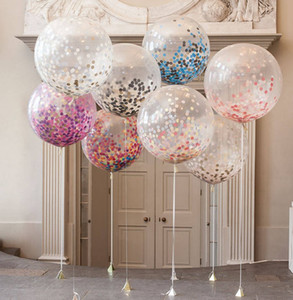 Wholesale 36 inch round transparent paper balloon new hot wedding layout large confetti balloons LLFA