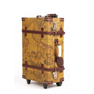 Wholesale TRAVEL TALE women retro map travel trolley vintage rolling luggage bag on wheel