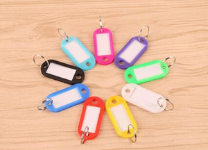 Wholesale Mix Color Plastic Keychain Key Tags Id Label Name Tags With Split Ring For Baggage Key Chains Key Rings