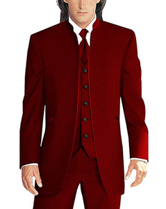 Newest Groomsmen Dark Red Groom Tuxedos Mandarin Lapel Men Suits Wedding Best Man Bridegroom (Jacket + Pants + Vest + Tie) L173