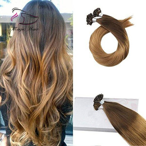 cheveux brun chocolat achat en gros de-news_sitemap_homeU Tip Keratin Remy Extension De Cheveux Humains Chocolate Brown Ombre à Caramel Blonde T427