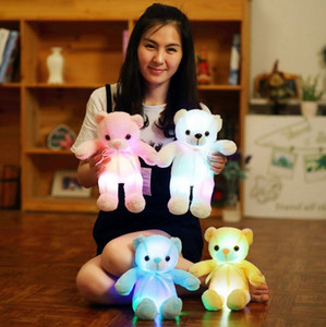 Wholesale 32cm Creative Light Up LED Teddy Bear Stuffed Animals Plush Toy Colorful Glowing Teddy Bear Christmas Gift for Kids