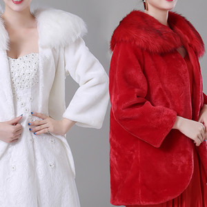 Wholesale 2018 Fall Winter Bridal Wraps Jackets Cheap Faux Fur Long Sleeves Warm Bridal Bolero for Wedding Dresses CPA1494