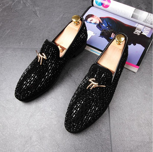 Wholesale Top Quality Men Glitter Shoes New Mens Fashion Casual Flats Men s Designer Dress Shoes Sequined Loafers Men s Platform Driving Shoes dh2n46
