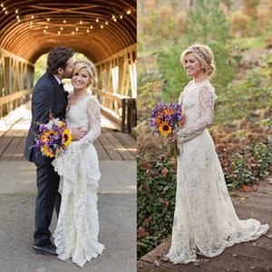 Wholesale 2018 Stunning Kelly Clarkson Country Wedding Dresses Spring Long Sleeves Beaded Bohemian Lace Wedding Dresses Plus Size Bridal Gowns BA3042
