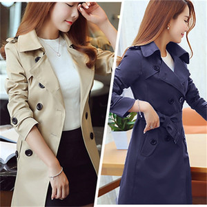 Wholesale Spring and autumn women's new double-breasted trench coat in the long section Korean Slim large size solid color Windbreaker