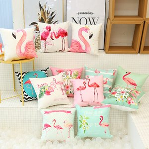 Wholesale Flamingo Cushion Case Sofa Pillowcase Flamingo Birds Cushion Cover Office Car Hold Pillow Cover Decor Christmas Decor Gift T2I186