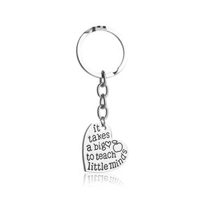 12pcs lot It Takes A Big Heart to Teach Little Mind Engraved Key Chain Heart Keychain for diy making jewelry gift