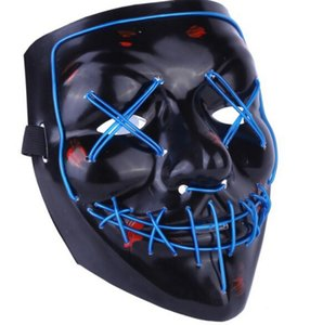 Wholesale Best price LED Light Mask Up Funny Mask from The Purge Election Year Great for Festival Cosplay Halloween Costume New Year Cosplay