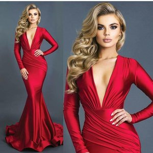Sexy Mermaid Red Evening Dresses Ruched Deep V-neck Long Sleeves Formal Prom Dress Vestidos Elastic Silk Like Satin BA8971 on Sale