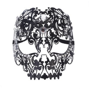 Wholesale 1Pcs NEW Fashion High Grade Metal Mask Full Face Party Prom Eye Mask Sexy Hollow Pattern White amp Black cm cm