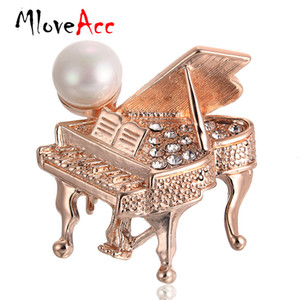 Wholesale MloveAcc Classic Luxury Women Brooch Jewelry Gold color Accessories Rhinestone Piano Brooches Wedding Scarf Hijab Lapel Pins