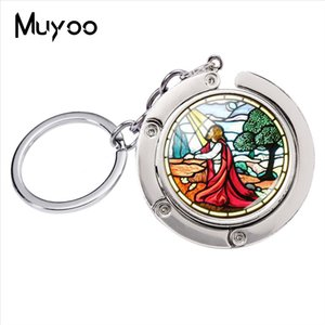 Wholesale New Fashion Religious Stained Glass Round Dome Silver Jewelry Bag Holder Key Chain Handmade Bag Hanger Family Keychain For Gifts
