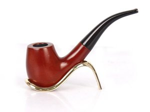 Wholesale red wood smoking pipes resale online - Old Red Wood Smoke Bucket Solid Wood Manual Tobacco Pipe Acrylic Curved Handle Smooth Surface Free Pipe Tobacco Pipe