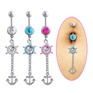 Wholesale Fashion Belly Button Rings Medical Steel Dangle Anchor Rudder Fake Navel Body Piercing Jewelry KQS8