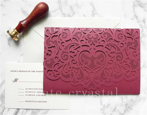 Burgundy Lace Pocket Laser Cut Wedding Invitation Suite for Vintage Wedding - Laser Cut Pocket Folder, Insert Card, RSVP, and Envelopes