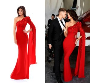 Wholesale Sexy One Shoulder Red Mermaid Long Formal Evening Dresses Split Long Sleeves Lace Appliqued Beaded Prom Gowns Carpet Runway Fashion Wear