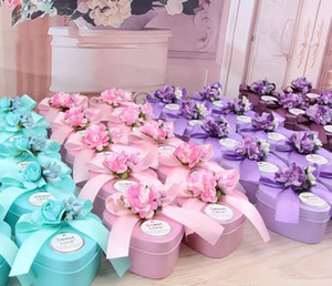 Wholesale European Style Heart shaped silk ribbon and lavender Candy Box Wedding Favors Holder red pink bllue color CM CM CM
