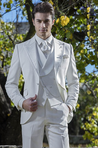 Wholesale Colour Pure White Bridegroom Tuxedos Three Pieces Blazer Pant Vest One Button Formal Clothing Set Party Performance Suits Fashion Coats