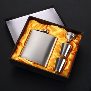 Wholesale Causal Silver Flagon Set With Funnel Cups Hip Flasks Suit Easy To Carry Stainless Steel Stoup Practical gl BB