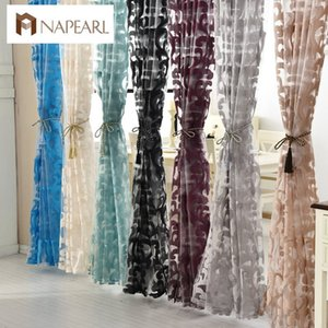 Wholesale NAPEARL Luxury European style tulle curtains organza jacquard fabrics for window treatments purple green black curtains balcony