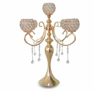Wholesale tall candelabras for weddings resale online - elegant new tall arms wedding rose gold crystal candelabra for wedding decoration centerpieces