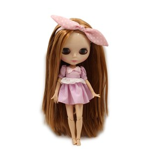Wholesale blythe doll factory Fortune Days Nude Blyth doll No BL0538 Brown long hair without bangs JOINT body Flesh color
