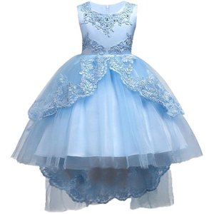 Pretty Lace Blue Puffy Girls Pageant Dresses 2018 High Low Lace Appliques Communion Dresses Pageant Dresses For Little Girls mc1458