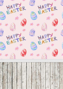 Wholesale Happy Easter Day Photography Backdrops Vinyl Printed Eggs Pink Flower Baby Newborn Photo Props Children Photo Studio Background Wood Floor