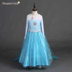 Wholesale Snowflake Girl Princess dress kids Euro Cosplay Party long Sleeve girl blue white patchwork rhinestone dress girl kids birthday clothes Gift