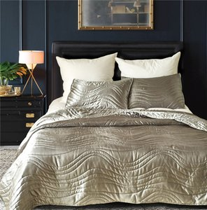 Wholesale decorate pillow covers resale online - New Released Silk Bedspread and Coverlet Set Decorated Dovet Set in Solid Colors Dovet Cover and Pillow Cases