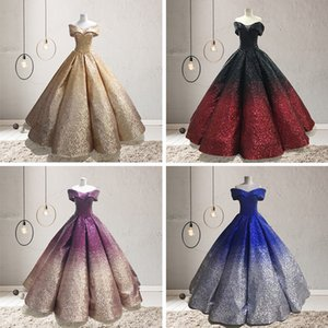Wholesale NEW Vintage Royal Lady Colorful Bateau Wedding Dress 6 Kinds Gradual Change Colors Sequin Bling Dresses Bridal Wedding Party Gown Dress D31