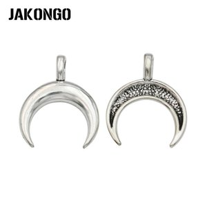 Wholesale JAKONGO Tibetan Silver Plated Horn Charms Pendants for Bracelet Accessories Jewelry Making Handmade x17mm