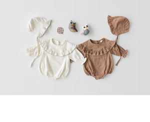Wholesale high quality baby clothes resale online - baby girl clothing romper round collar Long Sleeve Ruffles romper cotton high quality girl baby romper clothes