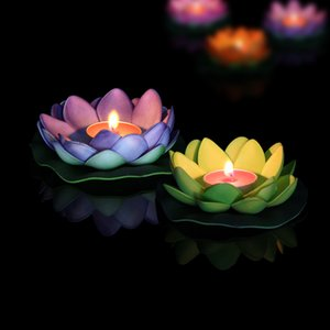 Wholesale Artificial Led Floating Lotus Flower Candle Lamp Colorful Changed Lights Wedding Party Decorations Supplies lj gg