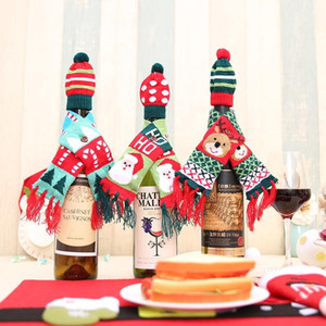 Wholesale scarf bottle for sale - Group buy Christmas red wine bottle decoration Santa deer tree Knitted Scarf Hat Set Christmas party decorations For the family
