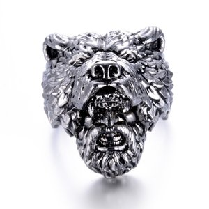 Wholesale eejart Stainless Steel Viking Bear Man Ring Titanium Punk Biker Ring Charm Jewelry Rings